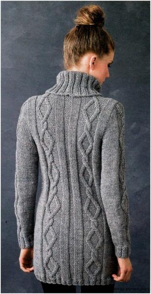 Серый пуловер с воротником гольф и объёмными аранами...