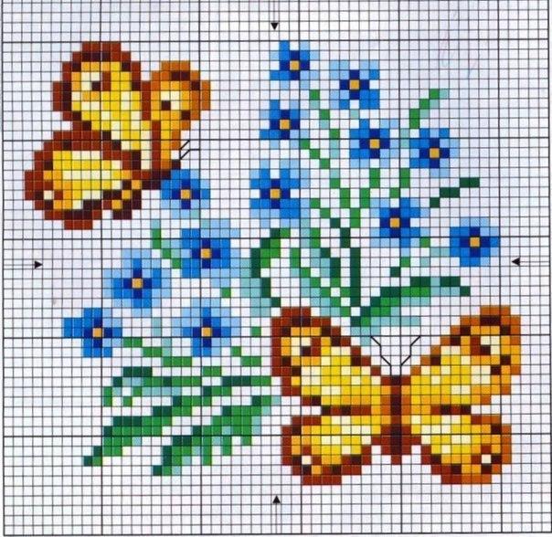 Вышивка. Бабочки на цветах