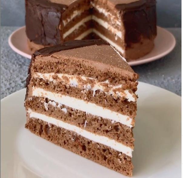 Шоколадный тортик с творожным кремом