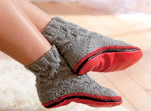 Модные вязаные тапки-носки, или носки с подошвой, можно...