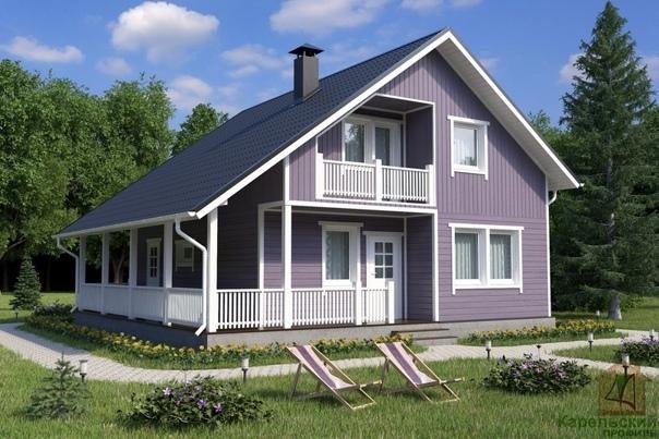 Эскиз проекта дома с террасой и балконом 146,5...