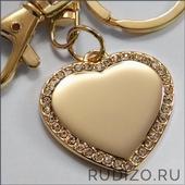 Сердце со стразами с гравировкой 33х33 мм -- арт. 03 СЕ