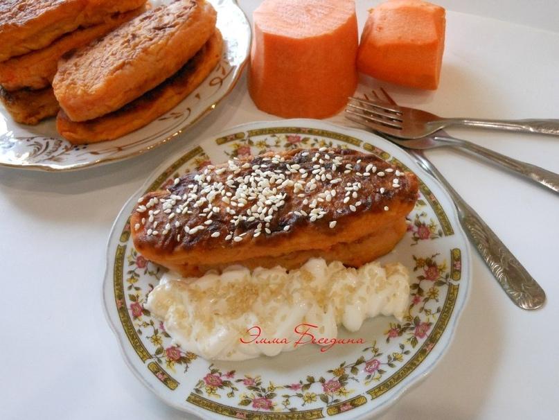 Морковные котлеты с кунжутом.