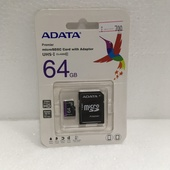 Карта памяти Micro SecureDigital 64Gb A-DATA AUSDX64GUICL10-RA1 MicroSDXC Class 10 UHS-I, SD adapter