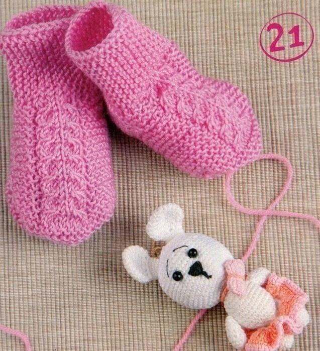 Розовые носочки для малышки 6-9 месяцев. Спицы.