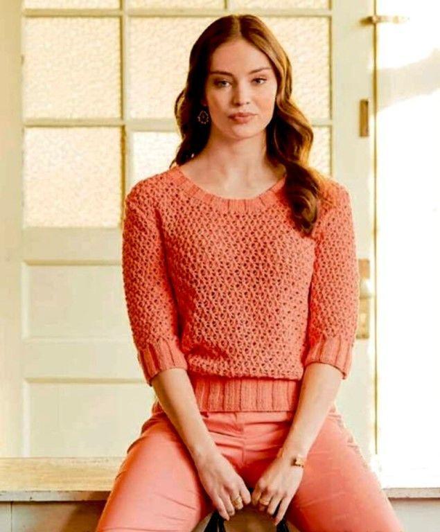 Коралловый пуловер. Описание