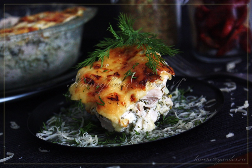 Куриное филе в кефире под сыром