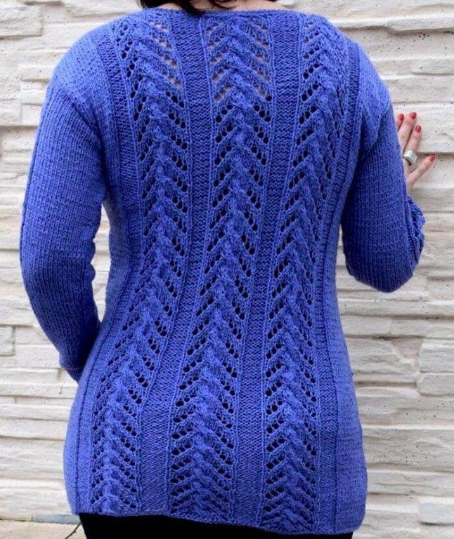 Удлиненный пуловер ажурными полосами