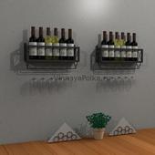 Полка на 6 винных бутылок с бокалами