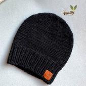 Стильная черная шапочка для малышей (34-40 см)