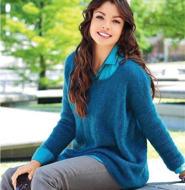 Синий пуловер