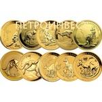 Набор из 10 монет: Aвстралийский Кенгуру (Наггет) (100 Dollars); 1oz; с 2012 по 2021