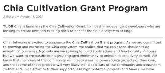 Chia Cultivation Grant Program